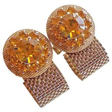 AMBER RHINESTONE Mesh Wrap Vintage Cufflinks