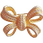Fabulous CHRISTIAN DIOR Signed Rhinestone Vintage Couture Brooch - Bow Shaped