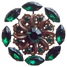 Gorgeous Emerald Green Rhinestone Vintage Brooch