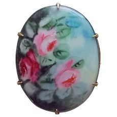 Antique Hand Painted Roses Porcelain Brooch