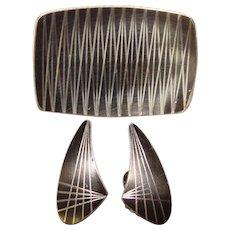 Fabulous JORGEN JENSEN Mid Century Mod Brooch & Earrings Set