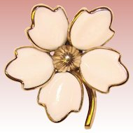 Gorgeous TRIFARI Milk Glass Petals Vintage Flower Brooch