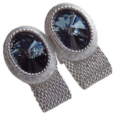OVAL RIVOLI RHINESTONE Mesh Wrap Vintage Cufflinks - Steel Blue Gray Smoke Color
