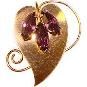 Fabulous CORO STERLING Purple Stones Fur Clip Brooch