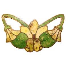 Gorgeous ART NOUVEAU Enameled Flower Design Brooch