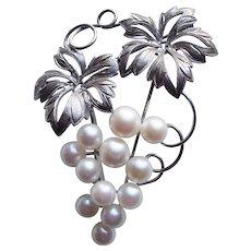 Fabulous Sterling & Akoya Cultured Pearls Vintage Grapes Brooch