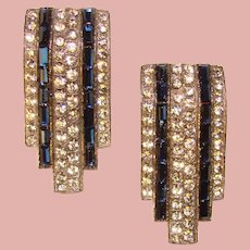 Fabulous ART DECO Blue & Clear Rhinestone Dress Clips