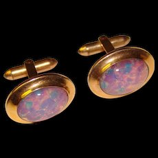Awesome OPAL GLASS Signed Vintage Cufflinks