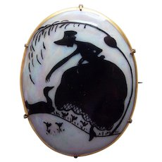 Antique Handpainted SILHOUETTE Lady and Swan Porcelain Brooch