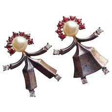Fabulous TRIFARI STERLING Signed Boy & Girl Brooch Set - Jon & Metze Alfred Philippe Vintage Figural Scatter Pins