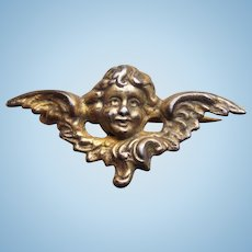 Tiny Sterling ANGEL FACE with Wings Antique Mini Sash Pin Brooch - For Your Doll