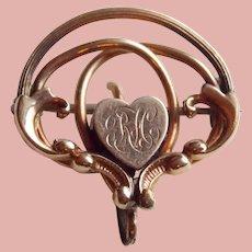 Antique Heart Watch or Locket Holder Pin Brooch