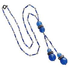 Fabulous ART DECO Chalcedony BLUE GLASS Flapper Necklace