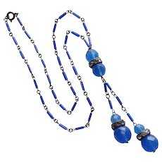 Fabulous ART DECO Chalcedony BLUE GLASS Flapper Necklace