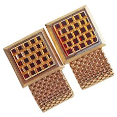Gorgeous RED GLASS Stones Vintage Wrap Cufflinks - Signed Dante