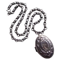 Fabulous 1940s VICTORIAN REVIVAL Vintage Locket Necklace - Signed Coro