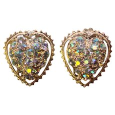 Gorgeous HEART Shaped Aurora Rhinestone Vintage Clip Earrings