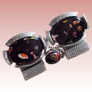 Gorgeous BLACK ART GLASS Stones Vintage Wrap Cufflinks Set