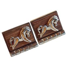 TROJAN HORSE Wood Vintage Estate Cufflinks