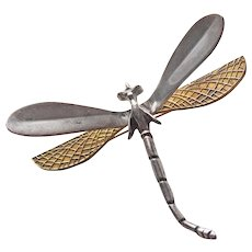 Gorgeous DRAGONFLY Mexican Sterling & Mixed Metal Vintage Brooch