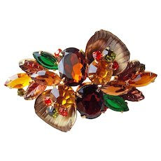 D&E Juliana Amber Brown Green Orange Rhinestone Vintage Brooch - Autumn Fall Colors