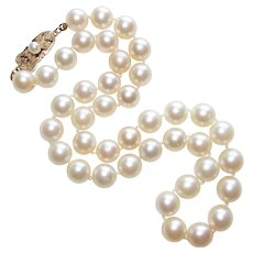 Fine MIKIMOTO Sterling & Cultured Akoya Pearl Vintage Necklace - 7.5mm Pearl Choker with 14K Gold Clasp