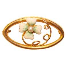 Fine Art Nouveau 10K Gold Enameled LUCKY CLOVER Brooch