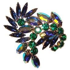 Fabulous BLUE & GREEN Aurora Vintage Rhinestone Brooch