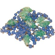 Fabulous OPALESCENT GLASS Vintage Green & Blue Necklace