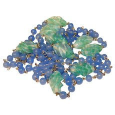 Fabulous OPALESCENT GLASS Vintage Green & Blue Necklace