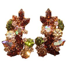 Fabulous AUSTRIA Vintage Colored Rhinestone Clip Earrings
