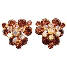Fabulous D&E JULIANA Dark Topaz & Aurora Rhinestone Vintage Clip Earrings