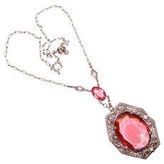 Fabulous ART DECO Filigree & Pink Glass Necklace