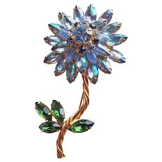 Fabulous IVANA TRUMP Rhinestone Blue Flower Brooch