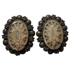 Fabulous STERLING Carved Mother of Pearl Vintage Clip Earrings