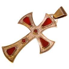 Fabulous 800 SILVER & CARNELIAN Vintage Cross Pendant