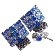BRIGHT & ICE BLUE Rhinestone Mesh Wrap Vintage Cufflinks Set