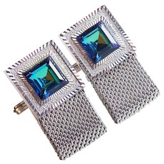 BLUE & AQUA GREEN Rhinestone Mesh Wrap Vintage Cufflinks - Watermelon Effect
