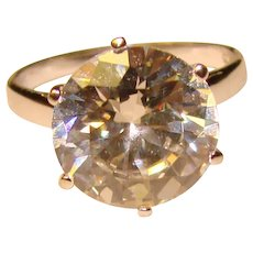 Fabulous STERLING Clear Stone Solitaire Ring