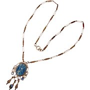 Fabulous Art Deco Blue Star Glass Necklace
