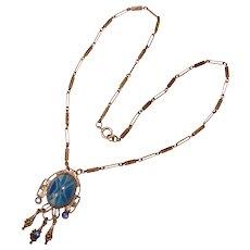 Fabulous Art Deco Blue Star Glass Necklace