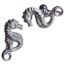 Awesome BEAU STERLING Seahorse Vintage Earrings