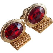 Awesome Red Glass Rhinestone Vintage Mesh Wrap Cufflinks