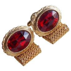 Awesome Red Glass Rhinestone Vintage Mesh Wrap Cufflinks