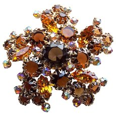 Fabulous Amber Brown & Aurora Rhinestone Vintage Brooch - Autumn Fall Colors