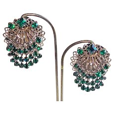 Gorgeous GREEN RHINESTONE Cha Cha Vintage Earrings