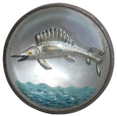 Goofus Glass SAILFISH Fish Sterling Vintage Brooch
