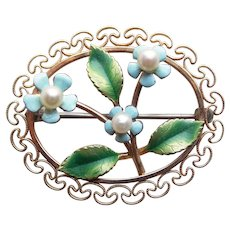 Gorgeous KREMENTZ Signed Enamel & Cultured Pearl Forget Me Not Vintage Brooch