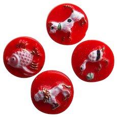 "Super Cute ANIMALS Red Glass Vintage Buttons - 3/8"" Dog Bird Lion Fish - Handpainted"