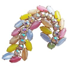 Fabulous SATIN GLASS & Aurora Rhinestone Vintage Brooch - Pink Blue Yellow Green - Large